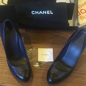 Chanel dark navy blue pumps 37.5 but runs small
